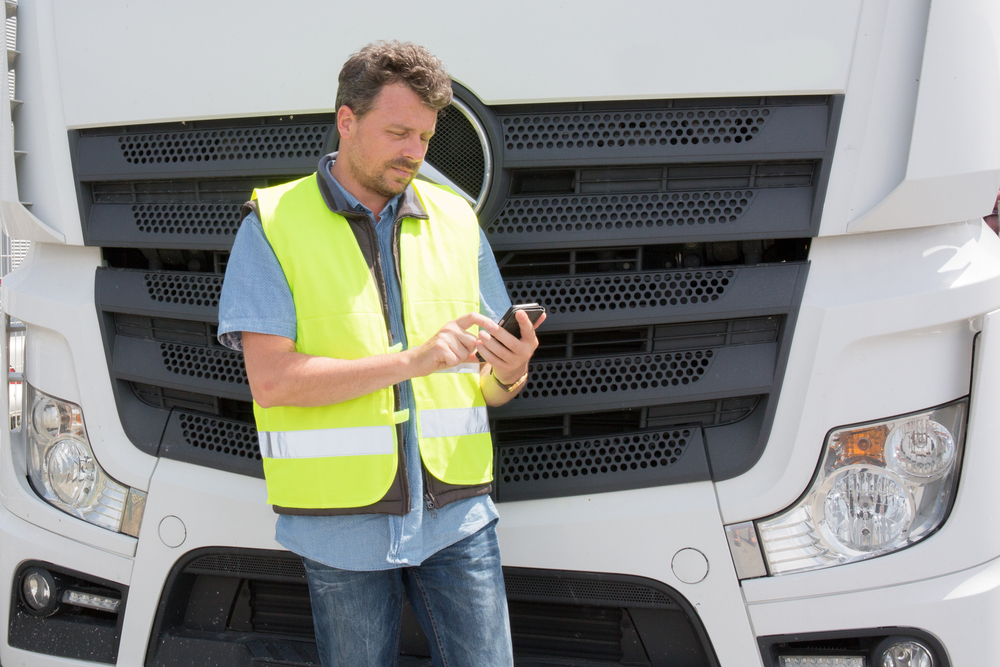truck driver on break on phone